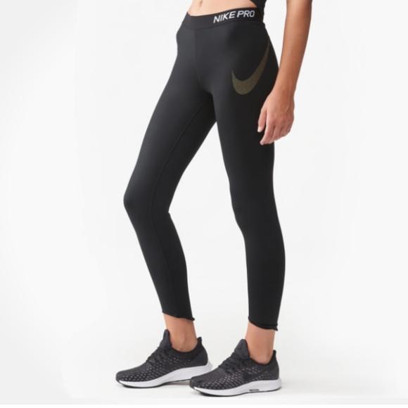 a00753ec1b296 Nike Pants | Womens Pro Crop 78 Tights Medium Black Gold | Poshmark